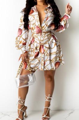 Fashion Print Lapel Neck Long Sleeve Shirt Dress LML259