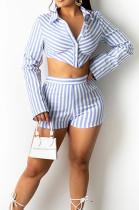 Light Blue Lapel Neck Button Long Sleeve Crop Shirts Mid Waist Shorts Two Piece SZS8101-3