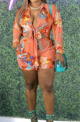 Orange Plus Size Print Lapel Neck Bandage Top Mid Waist Shorts Two Piece DN8626-2