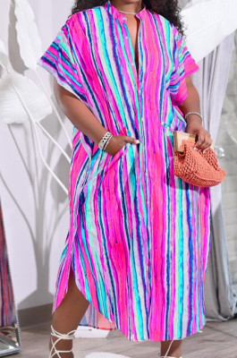 Colorful Print Colour Bar Loose Pocket Round Neck Single Breasted Shirt Dress NRS8076-3