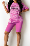 Peacock Blue Fashion Tie Dye Letter Print Round Neck Short Sleeve Shorts Casual Sets T231-2
