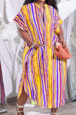 Colorful Print Colour Bar Loose Pocket Round Neck Single Breasted Shirt Dress NRS8076-2