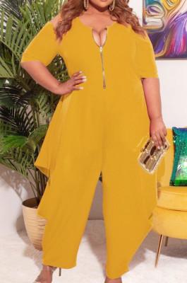 Yellow Big Yards Pure Color Half Sleeve Off Shoulder Zipper Loose Jumpsuits S66305-1