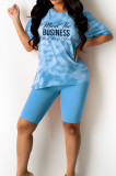 Pink Fashion Tie Dye Letter Print Round Neck Short Sleeve Shorts Casual Sets T231-1
