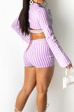 Black Lapel Neck Button Long Sleeve Crop Shirts Mid Waist Shorts Two Piece SZS8101-2