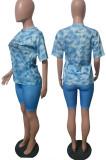 Orange Blue Fashion Tie Dye Letter Print Round Neck Short Sleeve Shorts Casual Sets T231-3