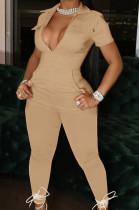Khaki Lapel Collar Zipper Pure Color Short Sleeve Causal With Pocket Jumpsuits LML247-5