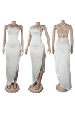White Assymetric Backless High Split Maxi Dresses