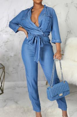 Blue Jean Lapel Neck V Collar Half Sleeve Bandage Wide Leg Jumpsuits SMR2922