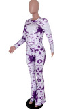 Purple Tie Dye Round Neck Long Sleeve Casual Long Pants Two-Piece YSS8040-2