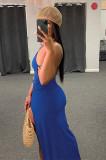 Black Assymetric Backless High Split Maxi Dresses