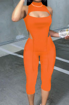 Orange Half High Neck Sleeveless Hollow Out Elastic Cropped Pants Pure Color Sets YYF8232-4