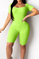 Neon Green Night Club Square Neck Short Sleeve Back Hollow Out Bandage Romper Shorts ZQ9198-3