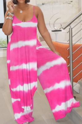Stripe Tie Dye Rose Red Digital Print Condole Belt Tank Low Cut Sexy Wide Leg Jumpsuits YYF8231-5