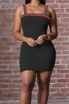 Black Sexy Condole Belt Strapless Hip Dress ZQ9209-2