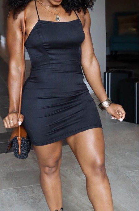 Black Sexy Condole Belt Tank Back Hollow Out Bandage Hip Dress YSS8076