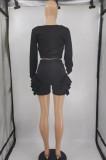 Light Blue Low Cut Long Sleeve Crop Top Cute Mid Waist Ruffle Shorts Two-Piece MTY6566-4