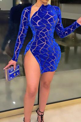 Blue Hollow Ourt Flocking Bouble Zipper Long Sleeve Sexy Mini Dress SN3910161-2