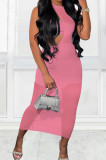 Pink Sexy Perspective Sleeveless Round Collar Strapless Long Dress Three-Piece MTY6561-2