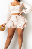 Red Low Cut Long Sleeve Crop Top Cute Mid Waist Ruffle Shorts Two-Piece MTY6566-1