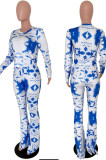 Blue Tie Dye Round Neck Long Sleeve Casual Long Pants Two-Piece YSS8040-3