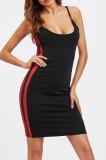 Black Condole Belt Low Cut Side Stripe Spliced Hip Dress SN390164