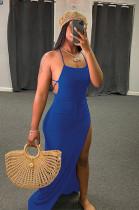 Blue Assymetric Backless High Split Maxi Dresses