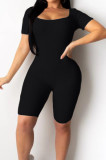 Black Night Club Square Neck Short Sleeve Back Hollow Out Bandage Romper Shorts ZQ9198-2