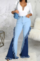 Light Blue High Waist Water Washing Spliced Jean Slim Fitting Stretch Flare Pants SMR2565