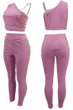 Pink Tight Pure Color Sleeveless Top With China Mid Waist Long Pants Two-Piece MTY6552-3