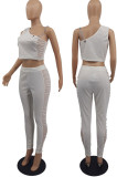 Black Tight Pure Color Sleeveless Top With China Mid Waist Long Pants Two-Piece MTY6552-2