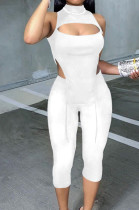 White Half High Neck Sleeveless Hollow Out Elastic Cropped Pants Pure Color Sets YYF8232-1