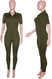 Army Green Casual Lapel Neck Short Sleeve Single-Breasted Bodycon Jumpsuits SN390172-1