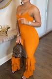 Orange Condole Belt Low Cut Pure Color Multilayer Ruffle Jumpsuits YSS8073-1