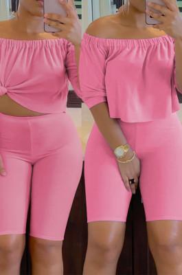 Pink Red Solid Color Summer A Word Shoulder Loose Short Sleeve Half Pants Casual Sets SN390143-3
