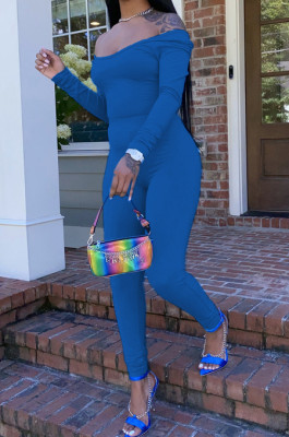 Blue Nigh Club Low Cut Long Sleeve Tight Top Long Pants Two-Piece WY6697-5