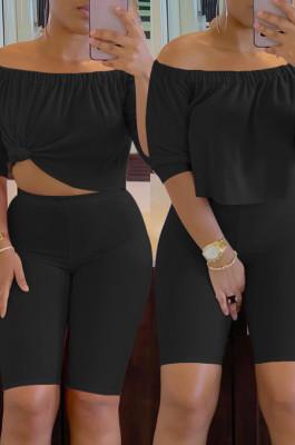 Black Solid Color Summer A Word Shoulder Loose Short Sleeve Half Pants Casual Sets SN390143-2