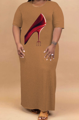 Brown Plus Size Print O Neck Shorts Sleeve Loose T-Shirt Slit Dress HHB4002-3
