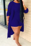 Purple New Solid Color Sleeveless Round Neck Romer Shorts+Long Sleeve Cardigan Coat Two-Piece WY6682-1