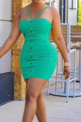 Green Night Club Solid Color Condole Belt Backless Button Elastic Waist Hip Dress AMX6051-3