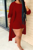 Wine Red New Solid Color Sleeveless Round Neck Romer Shorts+Long Sleeve Cardigan Coat Two-Piece WY6682-6
