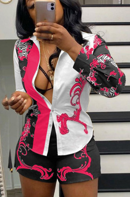 Rose RedTrendy Sexy Positioning Printing Cardigan Single-Breasted Long Sleeve Shirt Shorts Sets QY5059