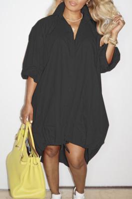Black Lapel Neck Long Sleeve Single-Breasted Loose Drawable Hem Shirt Dress WY6838-3