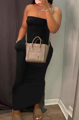 Black Sexy Strapless Backless Solid Colur Bodycon Long Dress SN390151-4