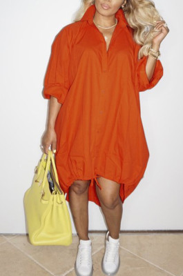 Orange Lapel Neck Long Sleeve Single-Breasted Loose Drawable Hem Shirt Dress WY6838-2