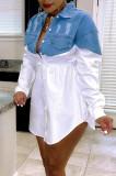 Black Fashion Jean Spliced Lapel Collar Long Sleeve Single-Breasted Shirt Dress WY6836-2