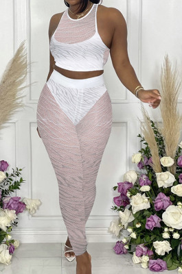 White New Night Club Mesh See-Througk SLeeveless Tank Pencil Pants With Underwear Briefs Sets SN390154-1