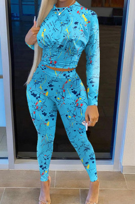 Blue Casual Print Round Neck Long Sleeve Bodycon Pants Two-Piece SN390184-3