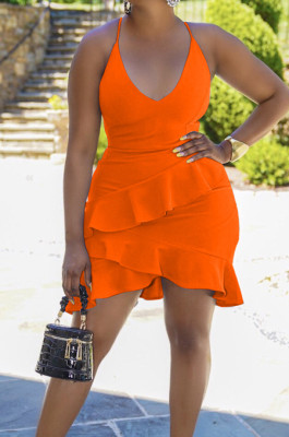Orange Cotton Blend Sexy Tied Deep V Neck Backless Solid Color Ruffle Dress BS1281-3