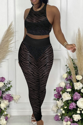 Black New Night Club Mesh See-Througk SLeeveless Tank Pencil Pants With Underwear Briefs Sets SN390154-2